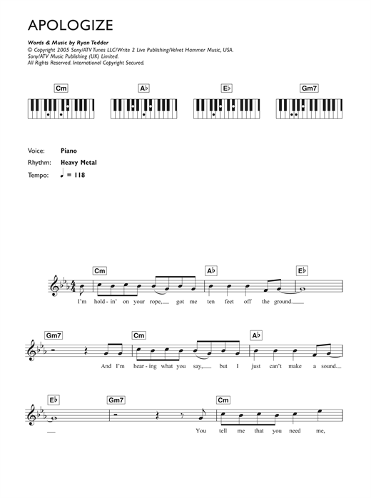 Apologize Sheet Music