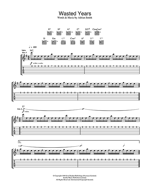 Tablature guitare Wasted Years de Iron Maiden - Tablature Guitare