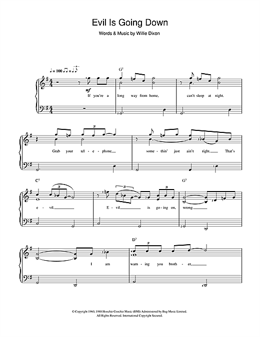 Evil (Is Going On) Sheet Music
