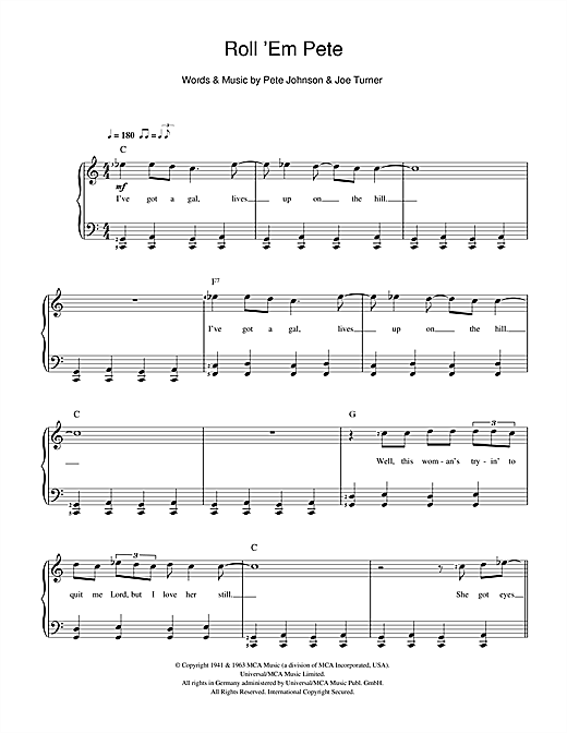 Roll 'Em Pete Sheet Music