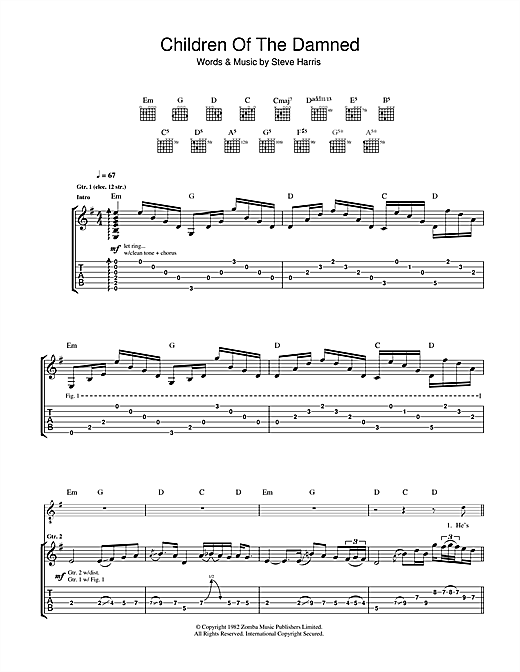 Tablature guitare Children Of The Damned de Iron Maiden - Tablature Guitare
