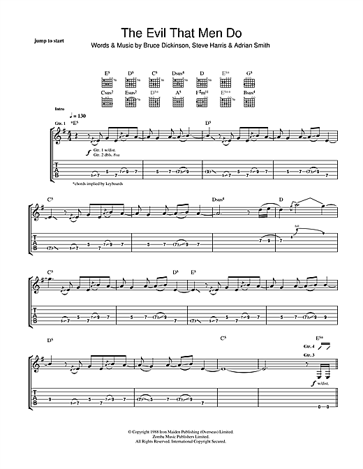 Tablature guitare The Evil That Men Do de Iron Maiden - Tablature Guitare