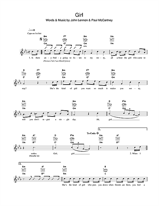 Girl (Lead Sheet / Fake Book)