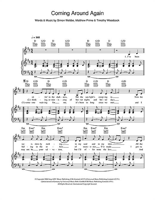 Coming Around Again Sheet Music