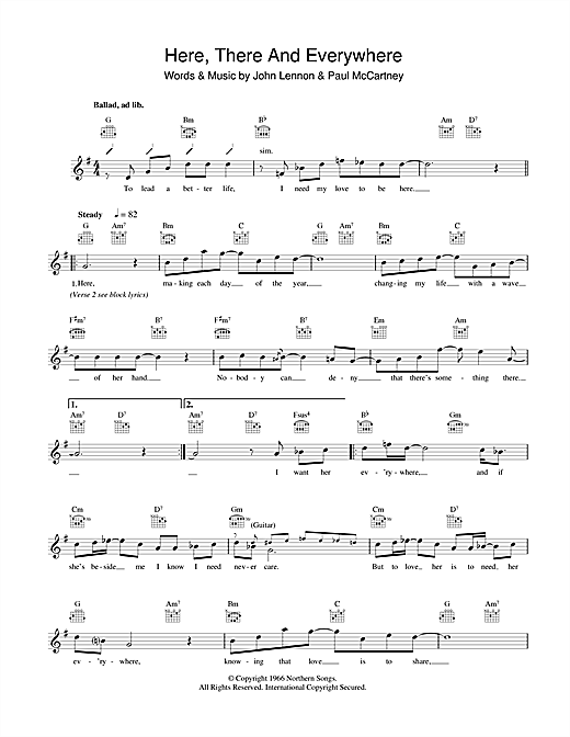 Here, There And Everywhere (Lead Sheet / Fake Book)