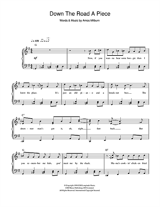 Down The Road A Piece Sheet Music