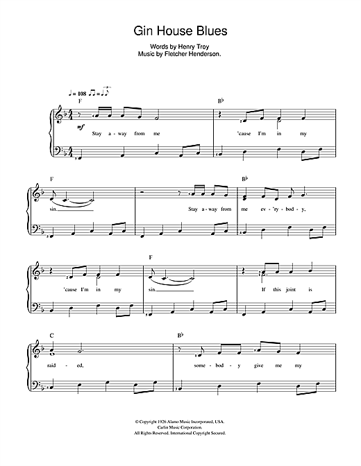 Gin House Blues Sheet Music