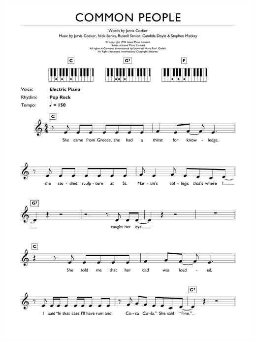 Common People Sheet Music