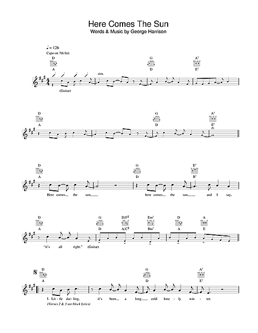 Here Comes The Sun chords by The Beatles (Melody Line, Lyrics ...