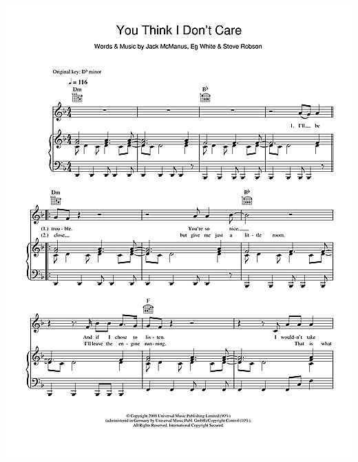 You Think I Don't Care Sheet Music