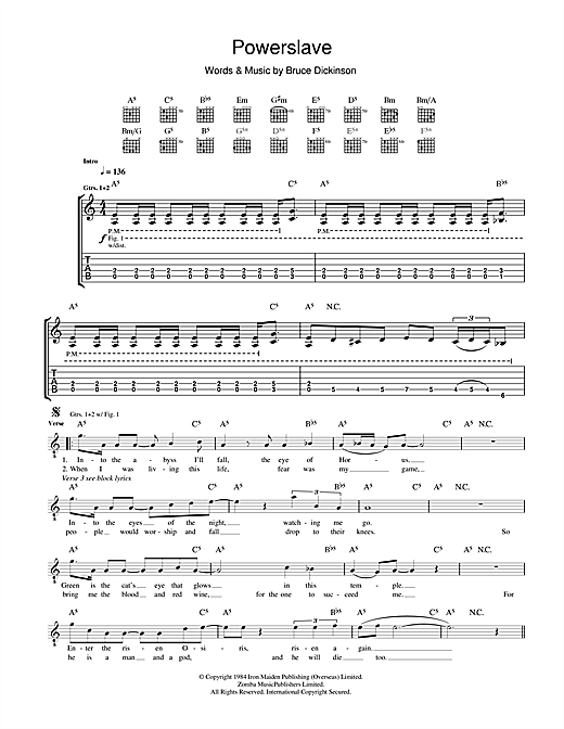 Tablature guitare Powerslave de Iron Maiden - Tablature Guitare