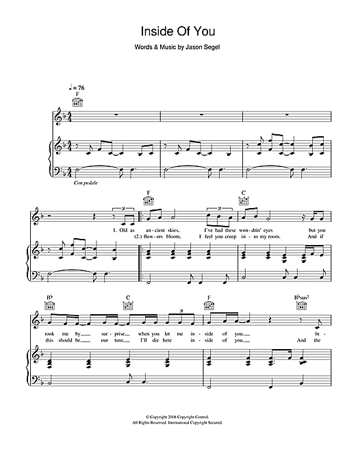 Inside Of You (from Forgetting Sarah Marshall) Sheet Music