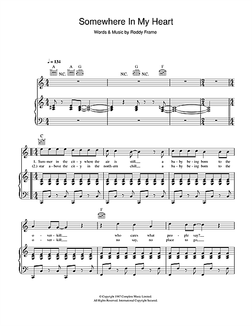 Somewhere In My Heart Sheet Music