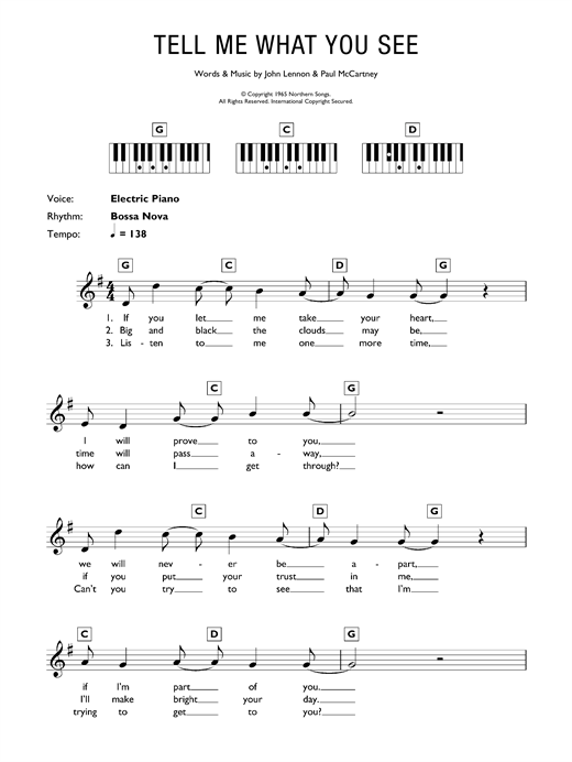 Partition piano Tell Me What You See de The Beatles - Synthétiseur