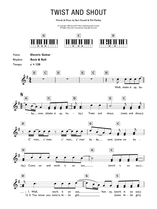 Partition piano Twist And Shout de The Beatles - Synthétiseur