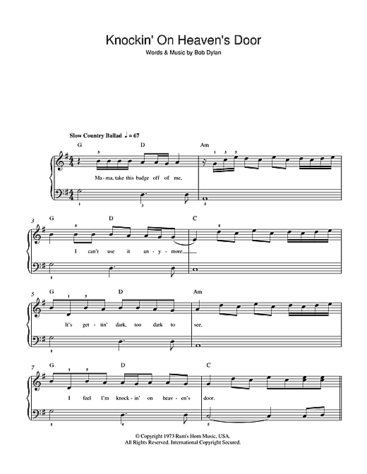 Knockin' On Heaven's Door Sheet Music