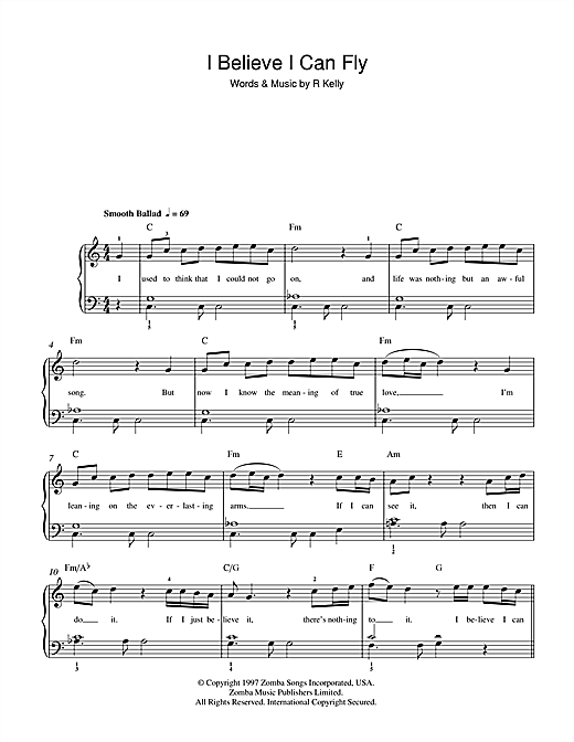 I Believe I Can Fly Sheet Music