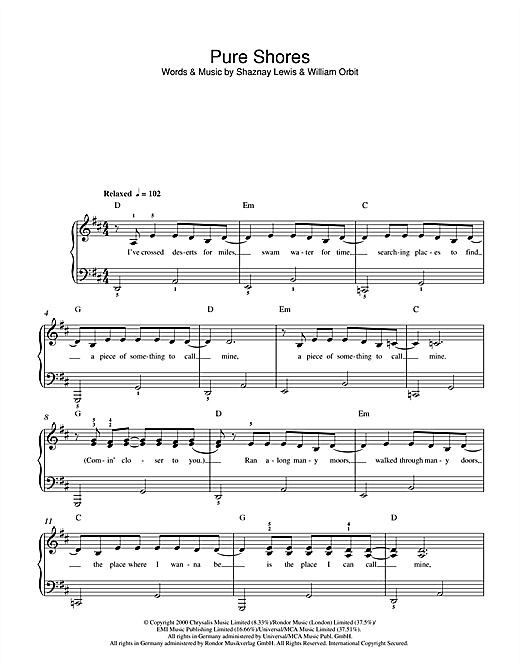 Pure Shores Sheet Music