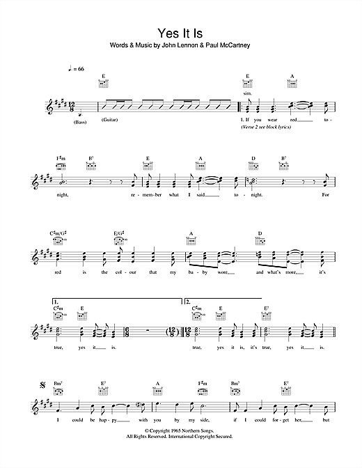 Yes It Is (Lead Sheet / Fake Book)