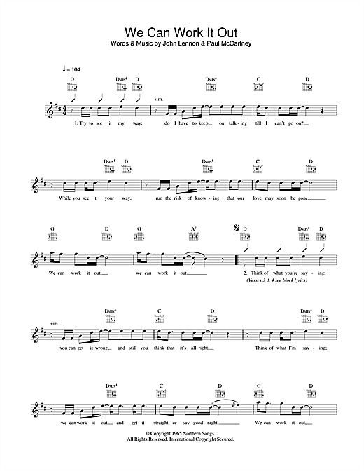 We Can Work It Out Chords By The Beatles Melody Line Lyrics