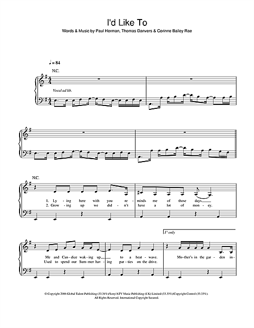 Partition piano I'd Like To de Corinne Bailey Rae - Piano Facile