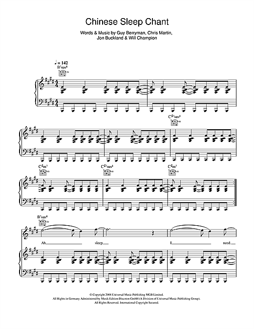 Chinese Sleep Chant Sheet Music