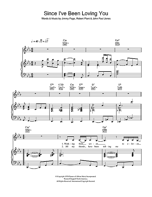 Since I've Been Loving You Sheet Music