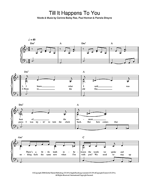 Till It Happens To You Sheet Music