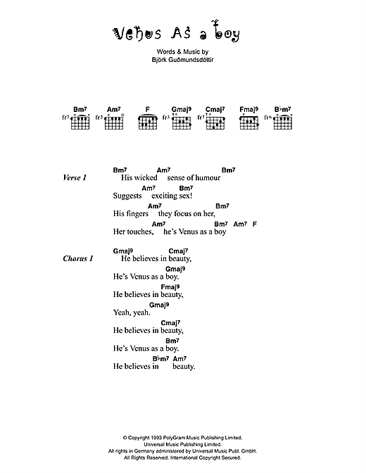 Venus As A Boy Sheet Music