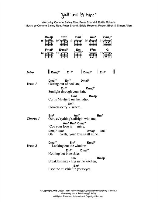 Your Love Is Mine Sheet Music