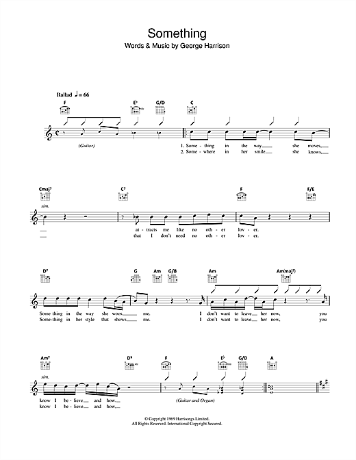Something chords by The Beatles (Melody Line, Lyrics & Chords – 43114)