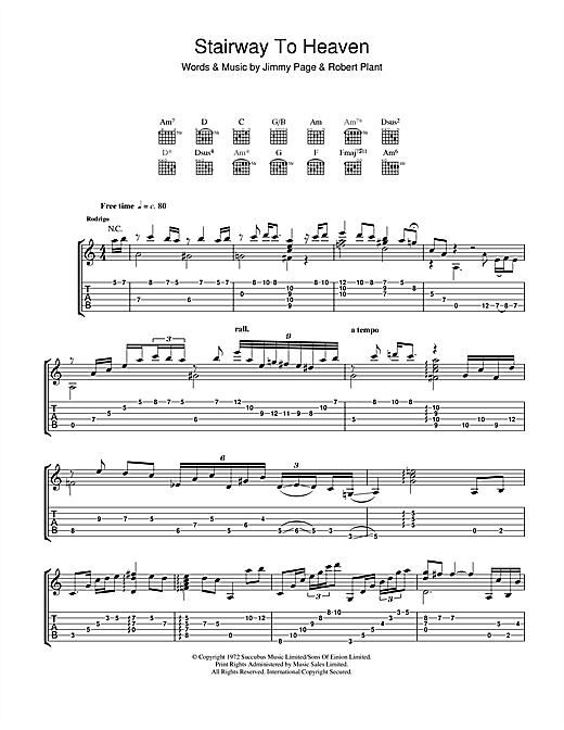 Tablature guitare Stairway To Heaven de Rodrigo y Gabriela - Tablature Guitare