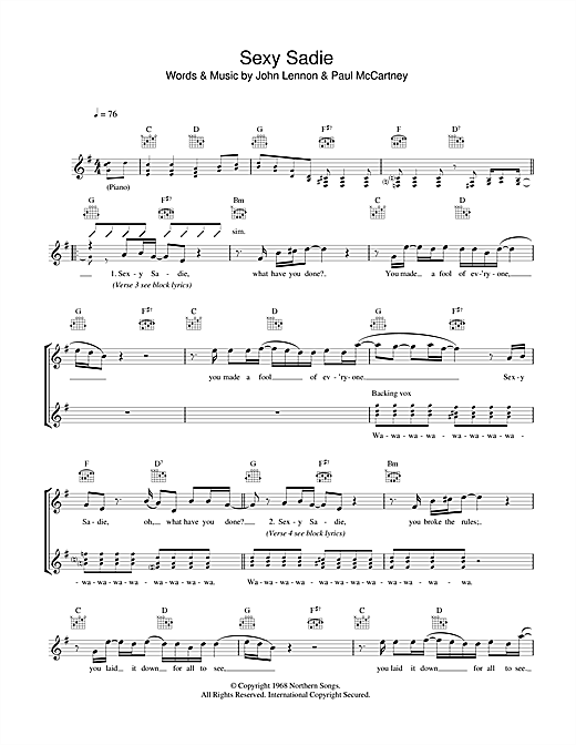 Sexy Sadie Sheet Music