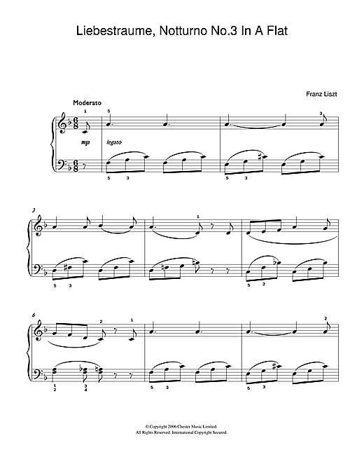 Liebestraume: Notturno No.3 In A Flat: O Lieb, So Lang Du Lieben… (Easy Piano)