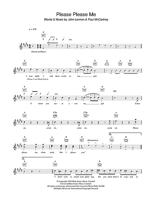Please Please Me (Lead Sheet / Fake Book)
