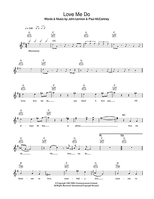 Love Me Do (Lead Sheet / Fake Book)