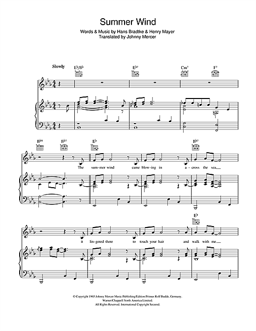 Summer Wind Sheet Music