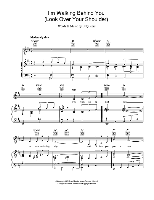 I'm Walking Behind You (Look Over Your Shoulder) Sheet Music