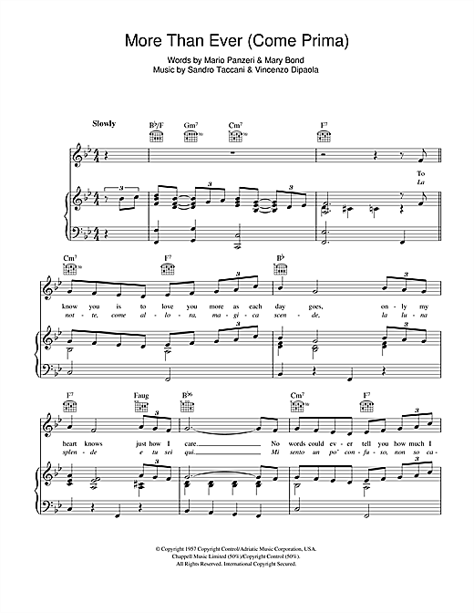 More Than Ever (Come Prima) Sheet Music