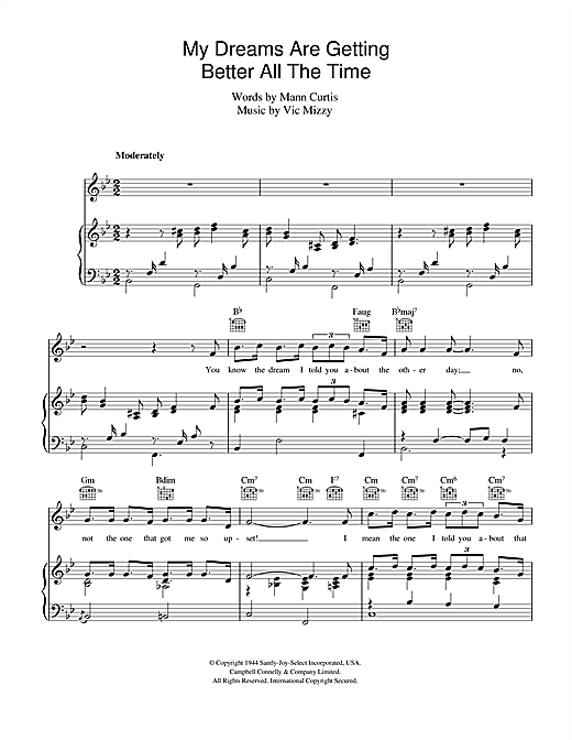 My Dreams Are Getting Better All The Time Sheet Music