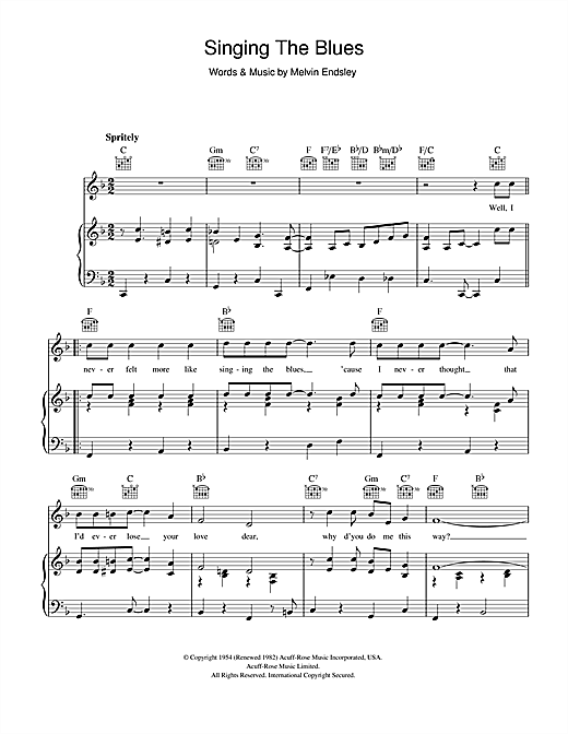 Singing The Blues Sheet Music