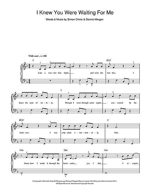 I Knew You Were Waiting (For Me) Sheet Music