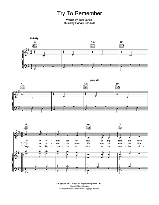 Partition piano Try To Remember de Jerry Orbach - Piano Voix Guitare (Mélodie Main Droite)