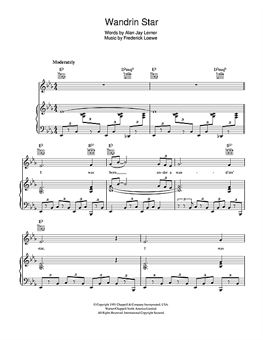 Wandrin Star Sheet Music