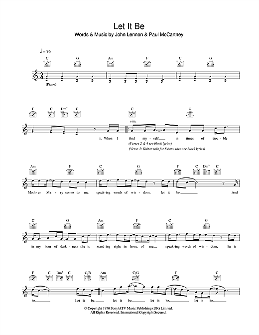 Let It Be Chords By The Beatles Melody Line Lyrics Chords 43251