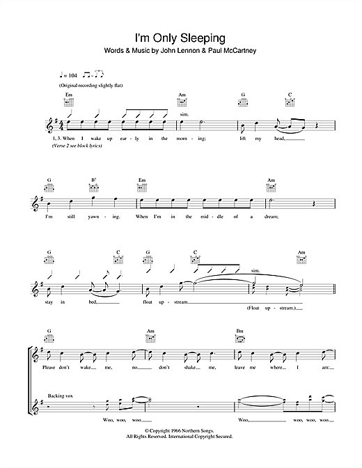 I'm Only Sleeping (Lead Sheet / Fake Book)