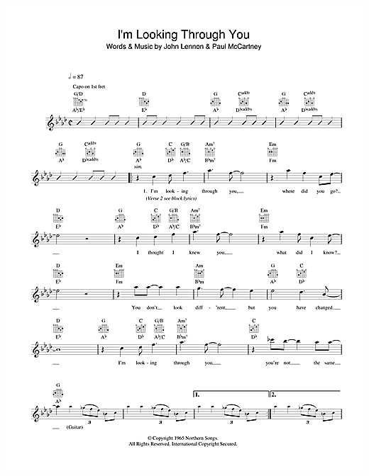 I'm Looking Through You Sheet Music