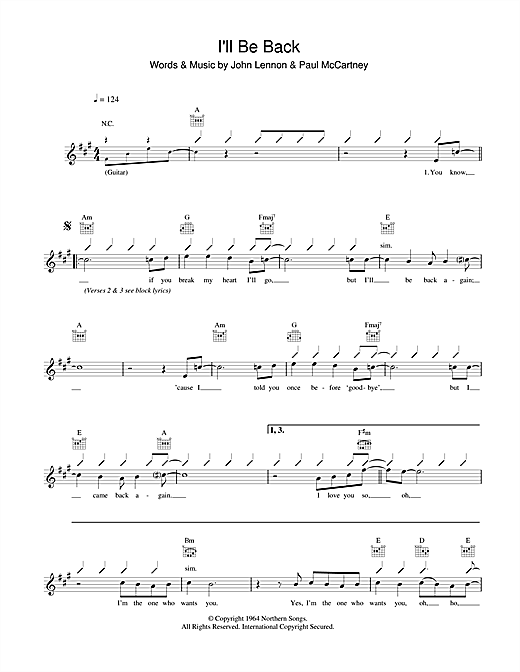 I'll Be Back (Lead Sheet / Fake Book)