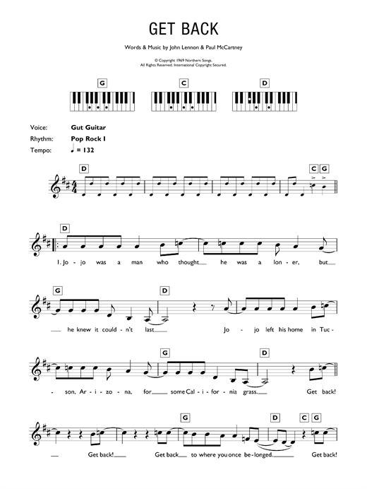 Get Back Sheet Music