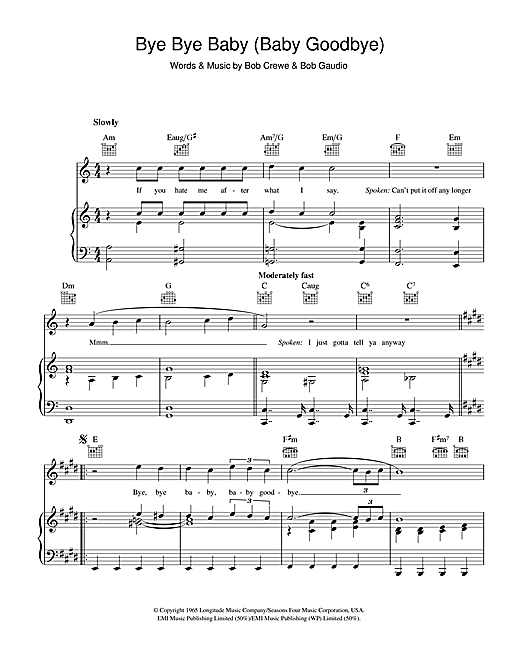 Bye Bye Baby (Baby Goodbye) (Piano, Vocal & Guitar (Right-Hand Melody))